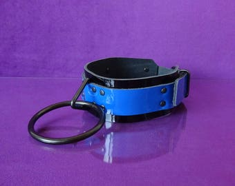 Collar - JumbO - Black and Blue Patent Leather Collar - PinkPonyClubnl - BDSM Kinky Fetish Collar Adult Fifty Shades