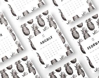 Pineapple Calendar 2017, 2017 Wall Calendar Printable, Printable Calendar 2017, 2017 Printable Wall Calendar, 2017 DIY Monthly Calendar