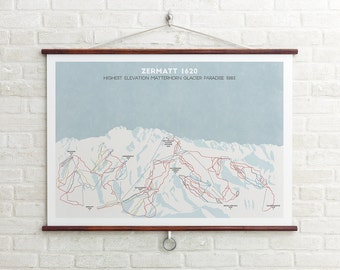 Zermatt Ski Piste Map, Switzerland Skiing, Ski resort print, Swiss Alps, Ski Art, Snowboard Art, Ski Gifts, Gifts for him or her