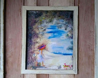 Girl On A Beach Painting (Driftwood Frame)