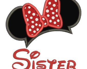 Minnie Mouse Ears Sister Birthday Applique Design