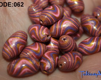 Oval Beads , 10 pcs Glamour Multicolor Beads for Necklace. Jewelry Supplies. Rainbow beads.