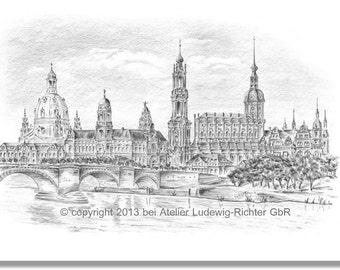 Canalettoblick Dresden - original signed art print