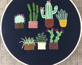 """7 Bad Hombres, 8"""", 7 pots of cacti & succulents, flowers, plants, modern, handmade embroidery hoop, stitched, made to order"""