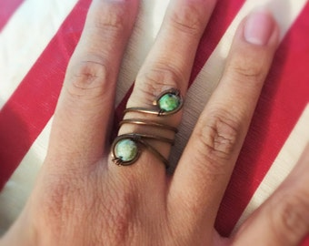 Copper Wrapped Ring w/ Chrysocolla Beads