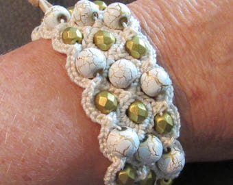White and Gold Crochet  Bracelet with Vintage Button Closure