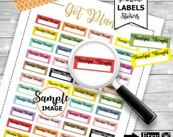 Thankful Thought Stickers, Planner Stickers, Printable Thankful Stickers
