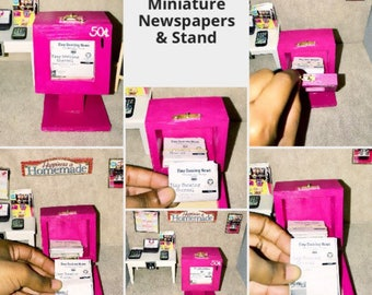 Miniature Newspapers & Stand
