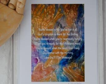 Christian Blank Card, Religious Encouragement Greeting Cards, Handmade Bible Verse Quote Card, Faith Original Mixed Media Card