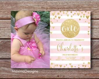 First Birthday Girl Invitation Pink 1st Birthday Girl Invite, Pink Gold Glitter Printable Invite