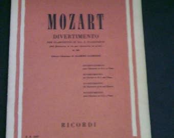 Mozart: Divertimento for Clarinet and Piano (Clarinetto in SIb. e. Pianoforte) 1955 Sheet Music