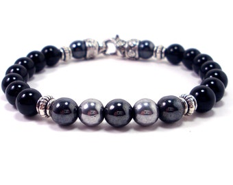 Onyx and Hematite Bracelet with Clasp, Men Bracelet, Handmade Bracelet, Mens Gift , Mens Bracelet, Gift for Men, Men Gemstone Bracelet
