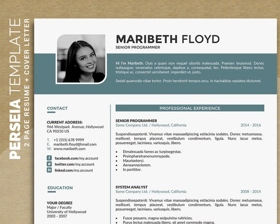 design 1 pages cover letter creative design instant download