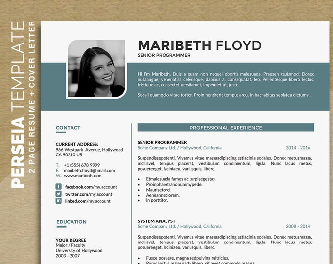 "Professional Resume Template / CV Template, 2 Pages Word Resume Design + 1 Pages Cover Letter, Creative Design, Instant Download ""Perseia"""