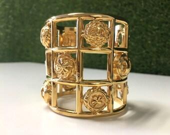 Chanel Cage Cuff Bracelet – Vintage Gold Wide Bangle CC Logo Charm Symbols Lucky