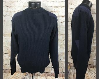 Vintage navy blue commando crew neck acrylic military sweater