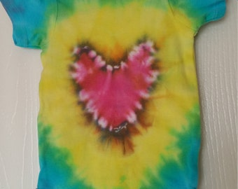 Tie dye heart onesie