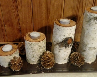 Individual Handmade Real White Birch Candle Holder