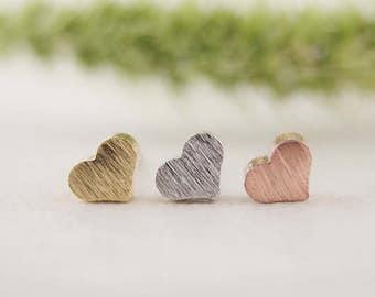 Heart earrings | Dainty Heart Ear Stud | Silver Heart Earrings | Heart stud earrings, Gold Heart Earrings | Minimalist Earrings