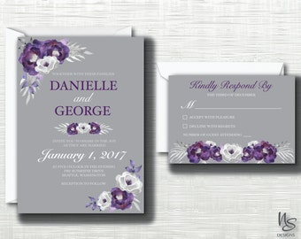 Purple and Grey Floral Printable Wedding Invitation & RSVP