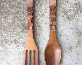 Small Tiki Polynesian Fork and Spoon Set Carved Timber Retro 1960s