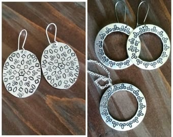 Mandala Design Stamped Earrings or Necklace