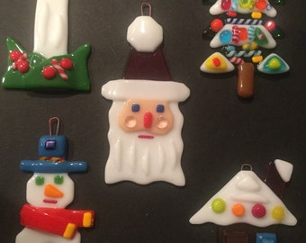 Fused glass tree ornaments