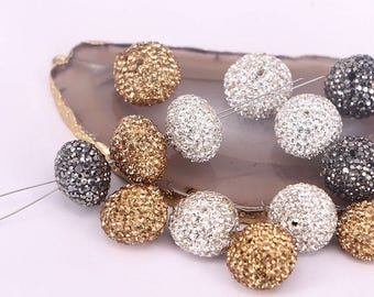 20pcs Gold Yellow / Black / White Flat Round Shaped Pave Rhinestone Crystal Spacer bead For Jewelry Making