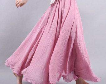 Pink Fuschia Flowing Maxi Skirt :  Polished Cotton Linen Mix summer beach wear