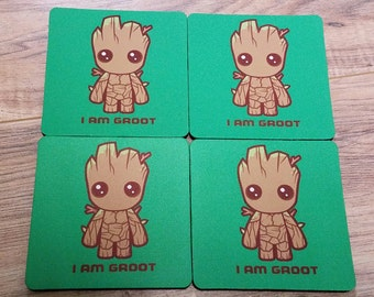 I Am Groot Fabric Coaster Individual/Set