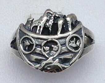 Noah's Ark ring in sterling silver