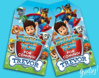 Paw Patrol Thank You Tags, Paw Patrol Birthday Favor Tags, Paw Patrol Party Tags, Paw Patrol Tags, Paw Patrol Printable Supply, Paw Patrol