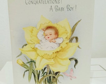 c 1950s 50s spring baby congratulations card - vintage baby boy card - new baby daffodil - vintage baby card -send / papercrafts / journal
