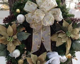 "24"" White and Sage Green Poinsettia Wreath"
