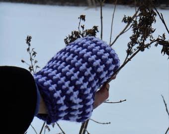 Crochet Fingerless Gloves/Purple & White