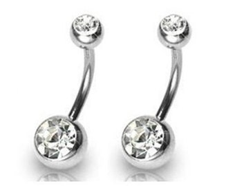"""14g 3/8"""" 10mm 8mm Navel Ring Double Gem Clear CZ Belly Button Sold Single"""