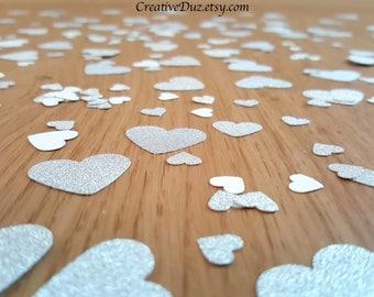 Silver Glitter Heart Confetti - 350 pieces-  Wedding confetti, Bridal Shower confetti, Party birthday confetti, Table confetti