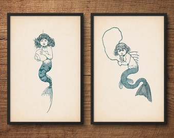 Nursery wall art, Mermaid print set, Mermaid wall decor, Princess wall art, Fairy tale art, Nursery room decor, Kids room decor