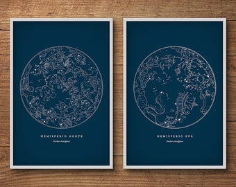 Star chart, Framed art set of 2, Star maps, Star charts, Star map print, Constellations chart, Celestial map, Constellations, Framed art