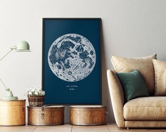 Large framed moon poster, Extra large moon print, Full moon art print, Full moon poster, Full moon print, Moon wall art, Framed moon poster
