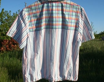 Shirt, Blouse woman. Blouse, cotton, striped shirt, plaid. Summer shirt. Size 38-40/M.  French vintage.
