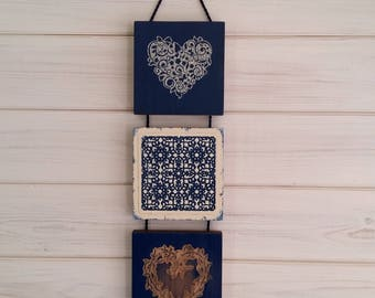 Dark blue and gold moroccan wall hanging ,one off art,free post
