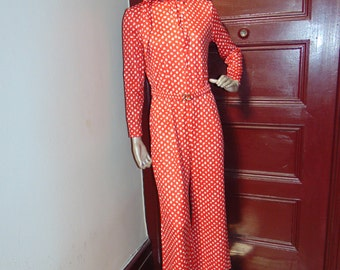 Vintage Polka Dot Jump Suit with Scarf