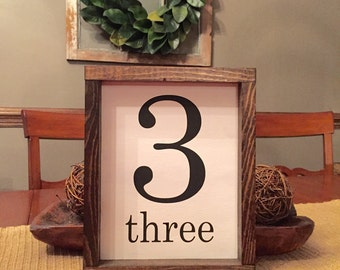 Framed number wooden sign