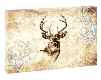 Deer wild stretcher canvas poster XXL 120 cm * 80 cm 690