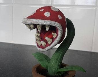 Super Mario inspired piranha plant, polymer clay figurine sculpture, handmade and hand painted Mario plant