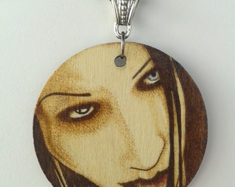 Marilyn Manson Man That You Fear Woodburned Portrait Circle Necklace