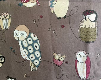 Quilting Fabric -- Whimsical Spotted Owl neutral colors.  Gray background.  2 yds available.