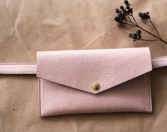 Dust pink Leather belt bag + belt included / leather waist bag / leather waist pack / handmade belt bag /leather belt pouch / leather wallet