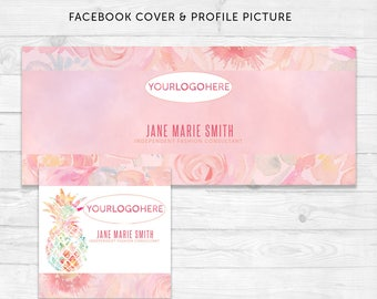 Facebook Cover & Profile Picture | Floral Pineapple Watercolor | Fashion Marketing